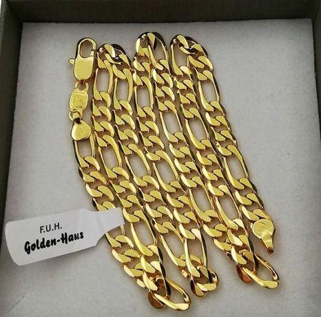 Luksusowy łańcuszek figaro 60cm 5mm platerowany 24k złotem GWARANCJA