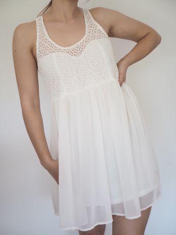 Zwiewna letnia sukienka ecru Tally Weijl