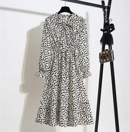 Шифоновое платье белое анималистический принт твариний принт плаття