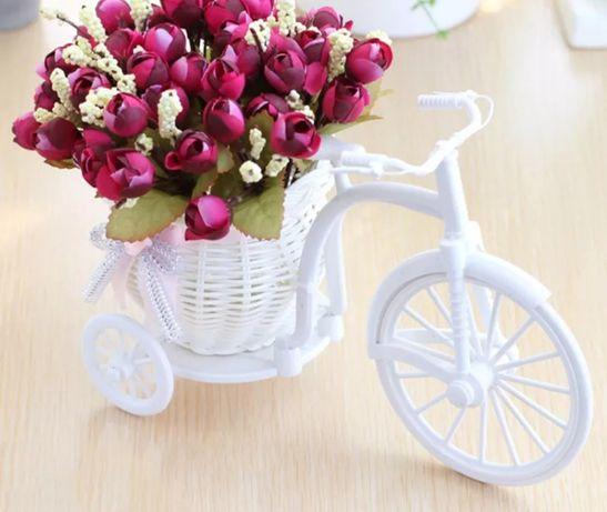 Nowy rower dekoracyjny kwiat kosz najnowsze plastikowe białe trójkołow