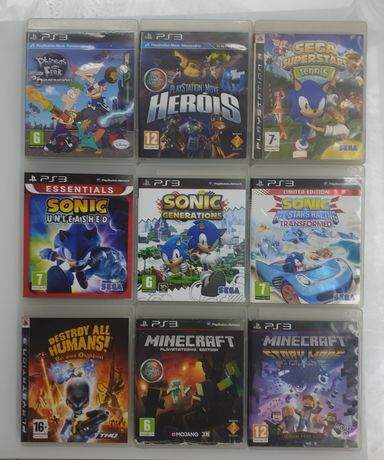 Sega Tennis,Sonic,Phineas and ferb,Destroy all Humans e Minecraft PS3