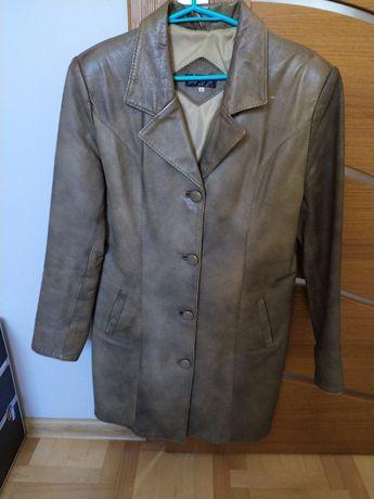 oliwkowy płaszcz skórzany (prawdziwa skóra)