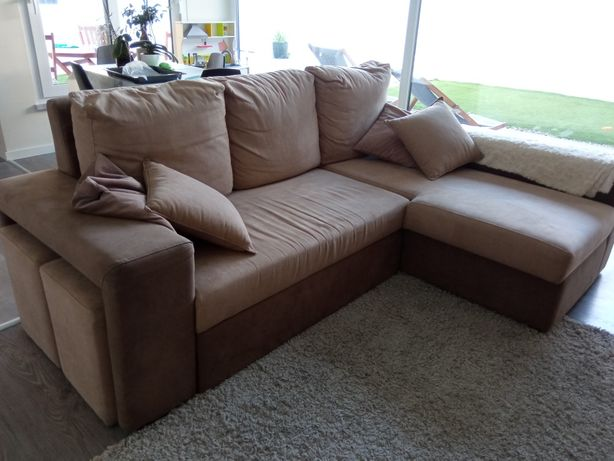 Sofá cama em pele sintética