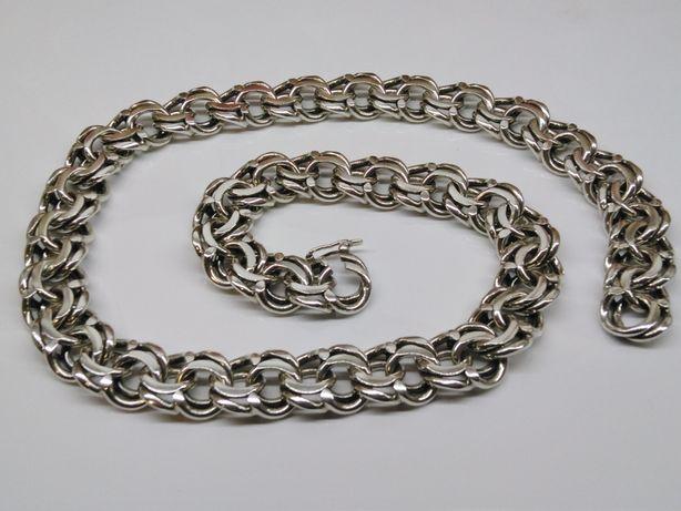 Gagant waga 188 g Srebro 925 Garibaldi srebrny Łańcuszek Łańcuch 56 cm