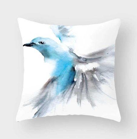 4 poszewki - komplet na jaśka - niebieski ptak