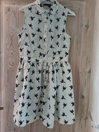 Zwiewna sukienka w ptaszki rozmiar S/M