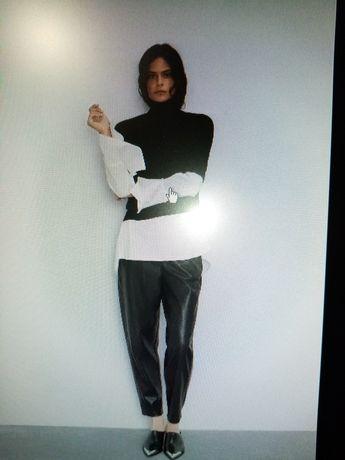 spodnie eko skóra - Zara - rozmiar xs