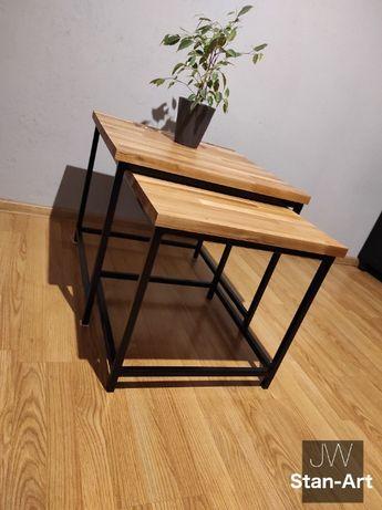 Komplet stolików kawowych loft metalowe nogi