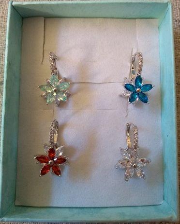 Kolczyki gwiazdki kwiatki kryształ biżuteria prezent Walentynki