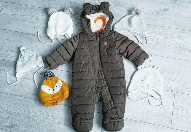Kombinezon zimowy dziecięcy h&m khaki 62 czapki zimowe paka
