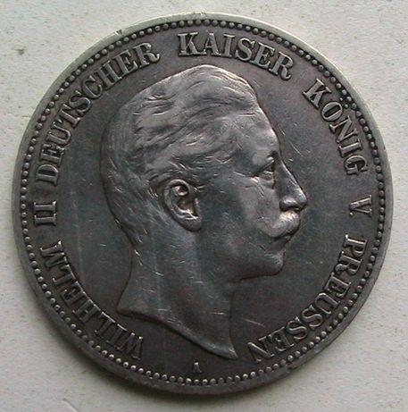 Германская империя 5 марок 1908 Вильгельм II