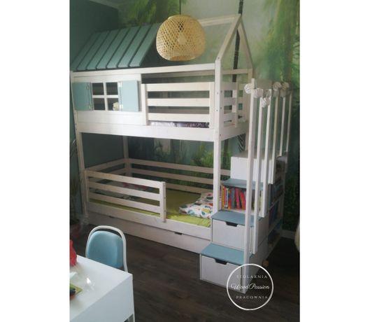 Łóżko piętrowe domek z szufladami