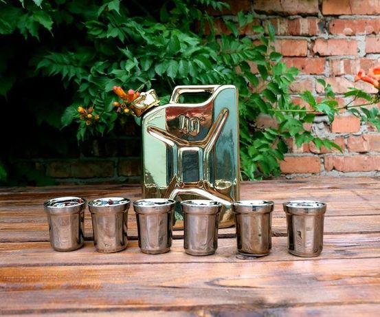 Золотая канистра, подарочный набор для спиртного, крутой подарок