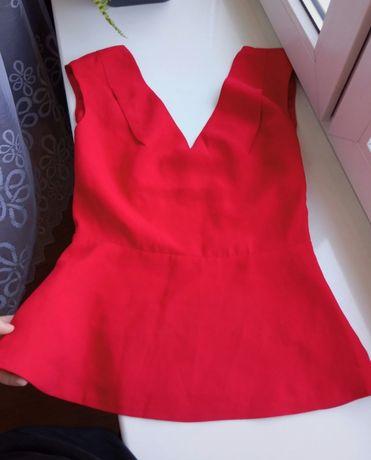 Bluzka Reserved czerwona baskinka dekolt 36/S