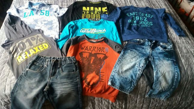 cena 150 zł mega paka 134/140 kurtka spodnie bluzy koszulki bruggi
