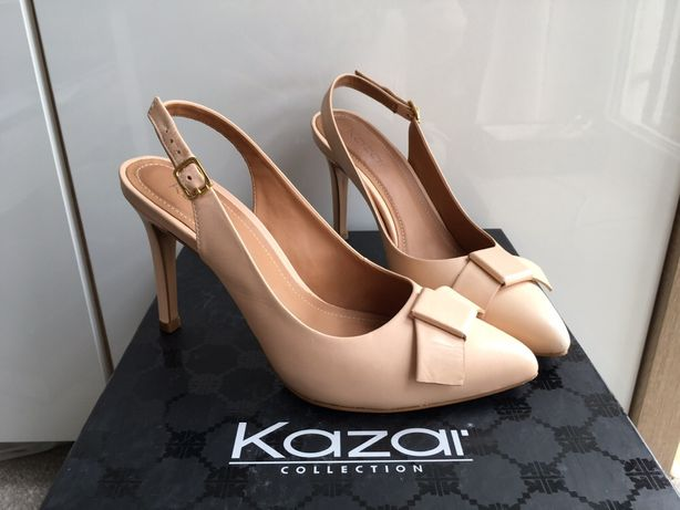 KAZAR SZPILKI 37 buty na obcasie jak NOWE nude beżowe damskie sandały