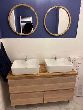 Zestaw łazienkowy, umywalki, szafka do umywalki podwójna, bateria 2 x,