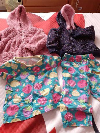 Dwie ciepłe bluzy dla dziewczynki na wiosnę rozmuar 80 GRATIS