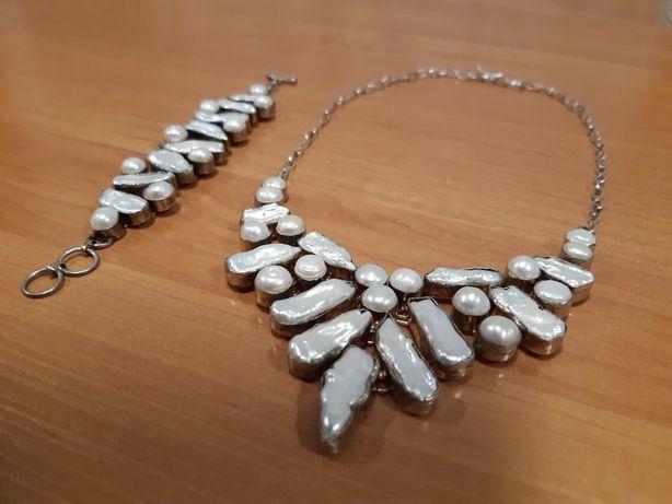 Kolia ,naszyjnik srebro perły z branzoletką komplet UNIKAT