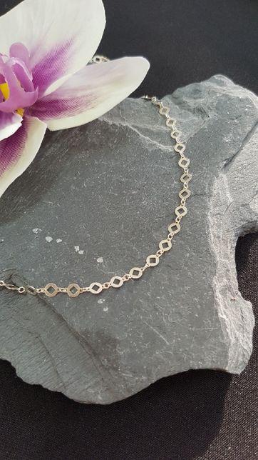 (k) Srebrny łańcuszek z blaszkami 925 2,22 g 50 cm