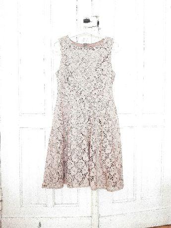 Elegancka sukienka koronkowa beżowa EMO midi M L modna koronka butik
