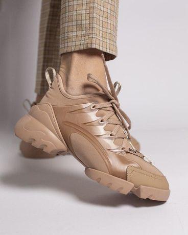 Женские Диор Кроссовки Dior D-Connect Sneaker Beige (Полный комплект)