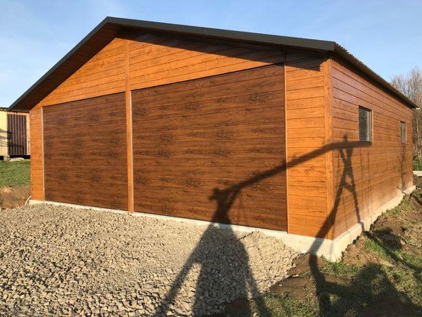 Garaż blaszany,blaszak konstrukcja ocynkowana drewnopodobny wymiary 7x