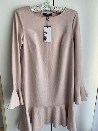 nowa sukienka answear pudrowa różowa falbanki