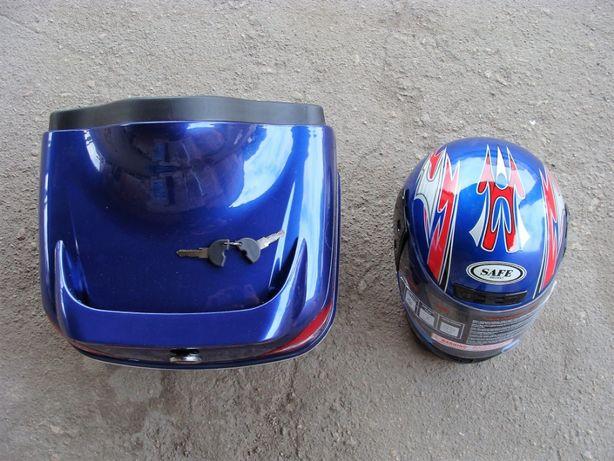 Багажник мото (кофра МЕРСЕДЕС Mercedes со шлемом) СИНЯЯ ПД 84289