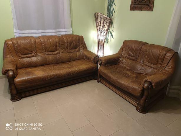 Sofa i fotel ze skóry naturalnej
