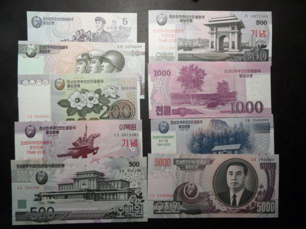 komplet banknotów Korea UNC 9 sztuk