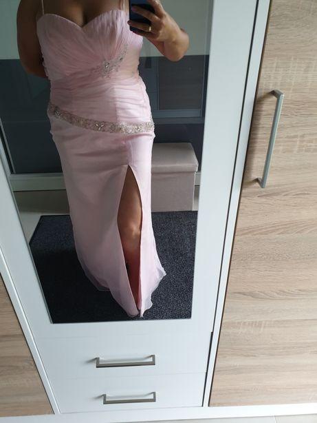 Suknia ślubna wizytowa poprawiny różowa r. 40 cyrkonie wyprzedaż