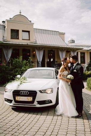 Auto samochód do ślubu,białe AUDI A5 jasny środek 500zł ! Wynajem ŚLUB