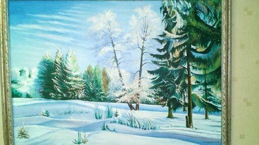 """Картина масло холст """"Зимний лес"""""""