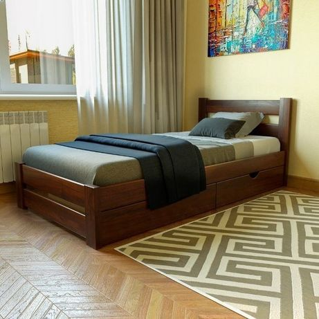 """Односпальне ліжко """"Вуд"""" 900*2000 із натурального дерево"""