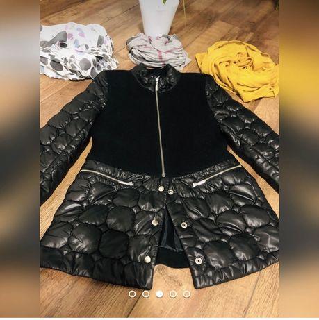 Czarna kurtka piłowano-flauszowa rozm 36 Ideał!