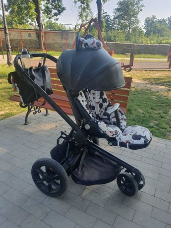 Wózek spacerówka Quinny mood czarny, myszka miki, Mickey, akcesoria.