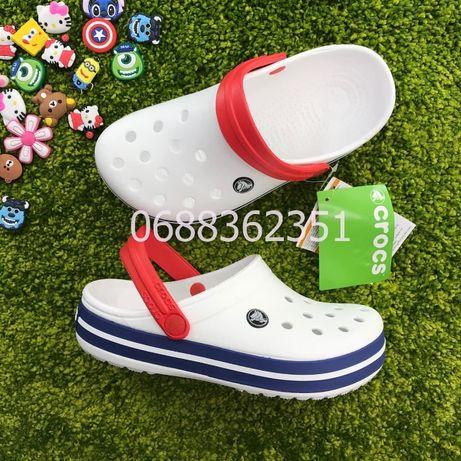 Женские и Мужские Сабо Кроксы Crocs Crocband WHITE/BLUE JEAN! SALE!