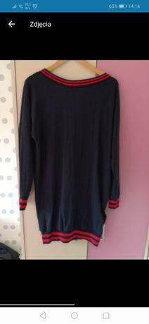 Sweter/tunika/sukienka cienka dzianina, dekolt z tyłu, wysyłka gratis!