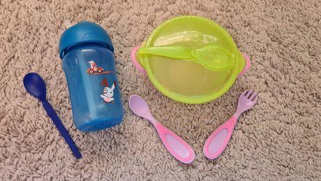 Поильник бутылочка тарелка крышк тарелочка детские приборы ложка вилка