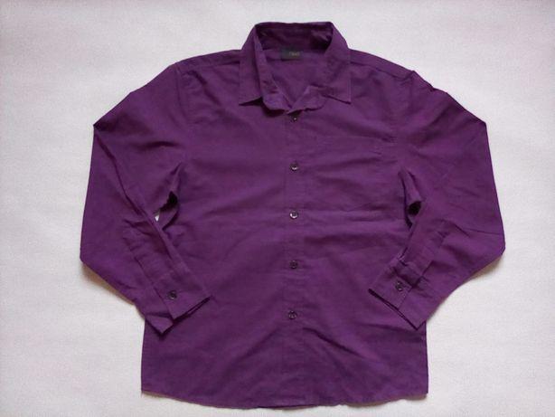 Next koszula chłopięca fioletowa w paseczki 134