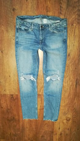 Spodnie jeansowe skinny Low Waist r 32 z dziurami h&m jeansy