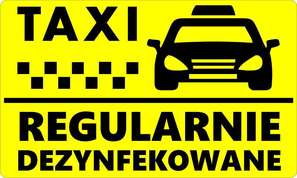 N1049 Naklejka TAxi regularnie dezynfekowane taksówka Kraków - image 1