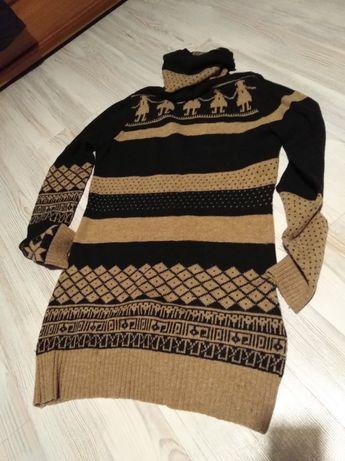 Sweter, tunika, golf z wełny. Styl etno.Czapka big star gratis