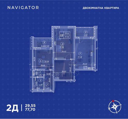 Продам 2-х ком 77.87 кухня 18 ЖК Навигатор!Кладовка +Дизайн!Документы!
