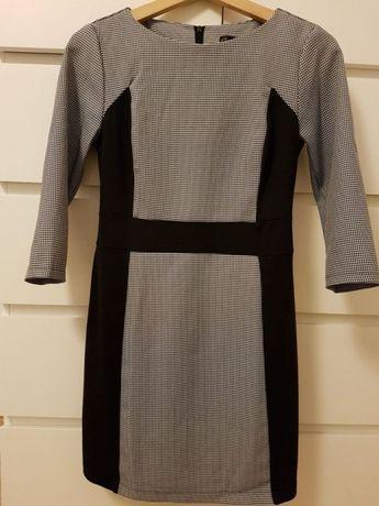 Sukienka czarna we wzorki, 3/4 rękaw, używana, rozm. 36