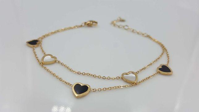 Bransoletka złota stal chirurgiczna 316L serca
