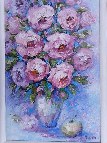 Картина маслом, цветы розы , натюрморт, от художника