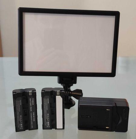 Painel LED Viltrox L116T para video fotografia +2 baterias +Carregador