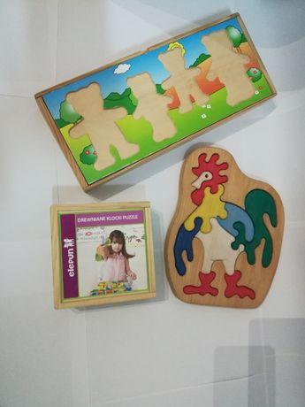 Drewniane puzzle zestaw